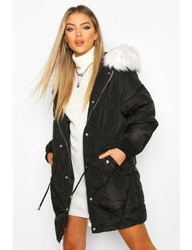 Drawcord Waist Quilted Parka by Boohoo