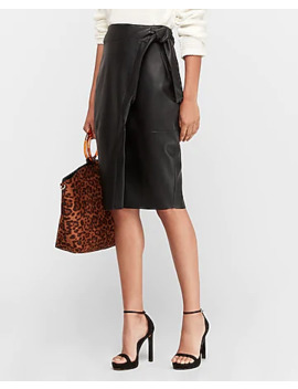 High Waisted Vegan Leather Pencil Skirt by Express