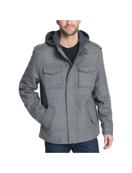 Men's Levi's® Wool Blend Four Pocket Hooded Military Jacket by Levi's