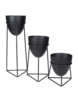 Mainstays Bullet 3 Piece Metal Planter Set With Stands by Mainstays