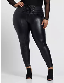 Cerisa Faux Leather Lace Up Pants by Fashion To Figure