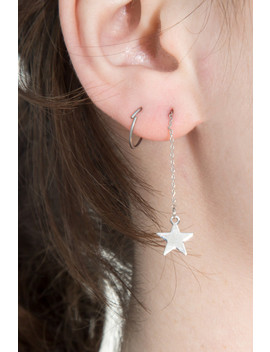 Silver Lightening Bolt Star Drop Earrings by Brandy Melville