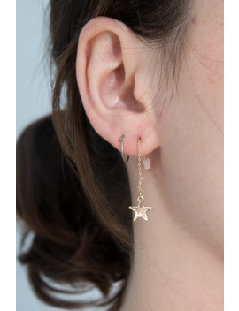 Gold Lightening Bolt Star Drop Earrings by Brandy Melville