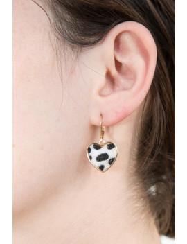 Gold Faux Fur Heart Earrings by Brandy Melville