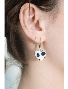 Silver Faux Fur Heart Earrings by Brandy Melville