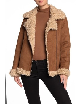 Faux Shearling Buckle Detail Jacket by Michael Michael Kors