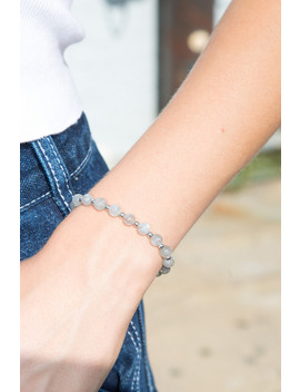 Light Grey Bead Bracelet by Brandy Melville