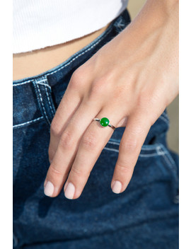 Silver And Green Stone Ring by Brandy Melville