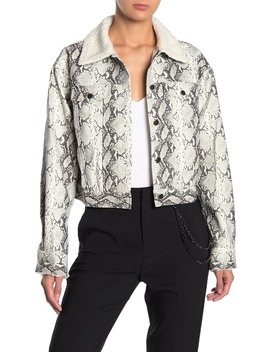 Faux Fur Collar Snake Skin Print Faux Leather Jacket by Honey Punch