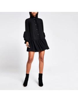 Black Long Sleeve Frill Mini Smock Dress by River Island