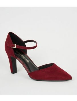 Dark Red Suedette 2 Part Court Shoes by New Look