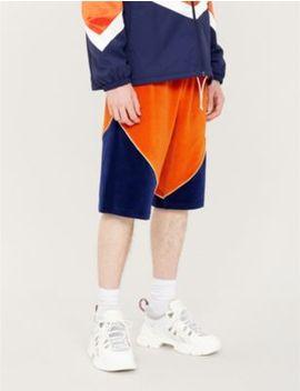 Chevron Panel Cotton Blend Shorts by Gucci