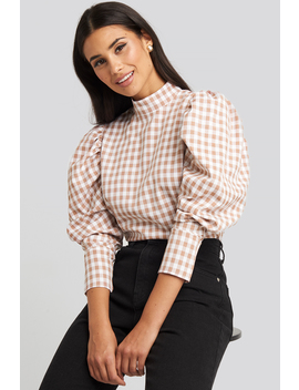 High Collar Checked Blouse Weiß by Na Kd Boho