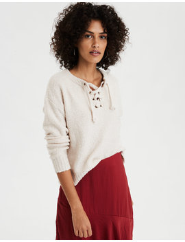 Ae V Neck Lace Up Sweater by American Eagle Outfitters