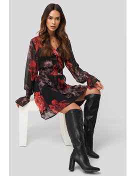 Smocked V Neck Mini Dress Black by Na Kd Trend