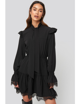 Smocked Flounce Lace Detail Dress Black by Na Kd Trend