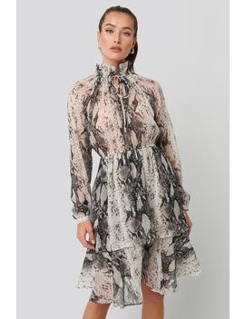 High Frill Neck Dress Grey by Na Kd Boho
