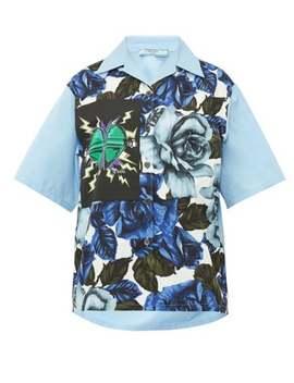 Rose And Heart Print Cotton Shirt by Prada