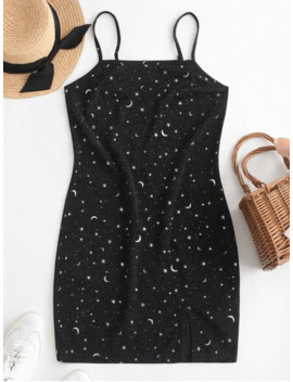Salezaful Moon And Star Metallic Thread Cami Slit Dress   Black S by Zaful