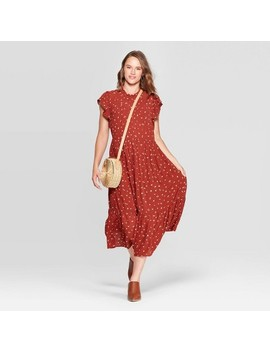 Women's Floral Print Sleeveless High Crewneck Midi Dress   Universal Thread™ Rust by Universal Thread