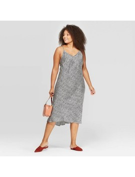 Women's Plus Size Animal Print Sleevelss V Neck Midi Shiftdress   A New Day™ White/Black by A New Day