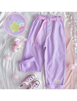 Harajuku Cartoon Embroidery Denim Pants Women Japanese High Waist Cute Casual Purple Pants Korean Kawaii Girls Wide Leg Trousers by Ali Express.Com