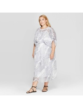 Women's Plus Size Printed Short Sleeve Crew Neck Midi Dress   Prologue™ Fresh White by Prologue