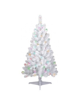 4ft Pre Lit Artificial Christmas Tree White Iridescent Tinsel Slim Alberta Spruce Multicolor Lights   Wondershop™ by Wondershop