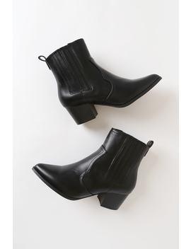 Mandy Jo Black Pointed Toe Ankle Booties by Lulu's