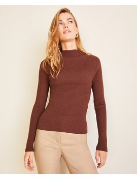 Petite Ribbed Mock Neck Sweater by Ann Taylor