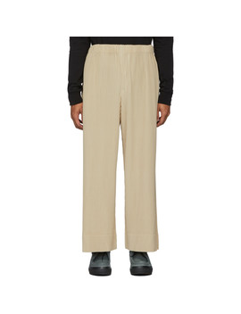 Beige Pleated Trousers by Homme PlissÉ Issey Miyake