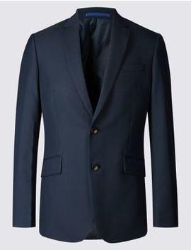 Navy Slim Fit Jacket by Marks & Spencer