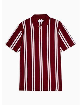 Burgundy Stripe Polo by Topman