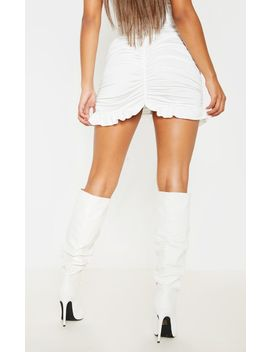 White Slinky Ruched Frill Hem Mini Skirt  by Prettylittlething