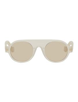 White Round Aviator Sunglasses by Loewe