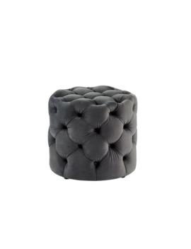 Furniture Of America Nadia Iii Tufted 20 Inch Round Ottoman   Grey by Furniture Of America