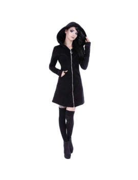 2019 New Gothic Women Hoodie Casual Long Sleeve Hooded Zip Up Sweatshirts Hooded Female Jumper Women Tracksuits Hoodie by Ali Express.Com