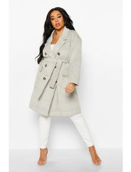 Plus Tonal Check Belted Button Trench Coat by Boohoo