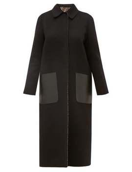 Reversible Ff Print Wool Blend Coat by Fendi