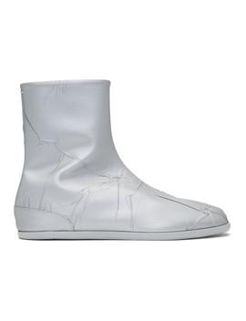 Silver Metallic Flat Tabi Boots by Maison Margiela