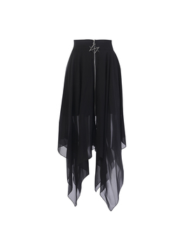 Summer Mesh Irregular Women Skirts Pentagram Zipper Black Punk Skirts Gothic Darkness Lady Skirt Casual Loose Streetwear Skirts by Ali Express.Com
