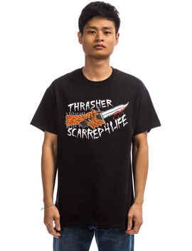 Thrasher Scarred T Shirt (Black) by Thrasher