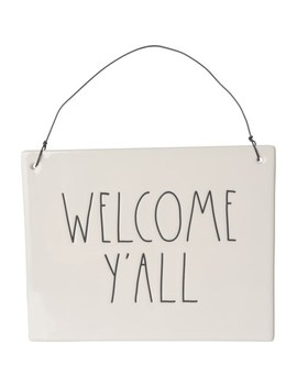 """Rae Dunn 6x7.5"""" Welcome Y'all Wall Plaque by Rae Dunn"""