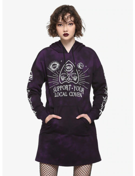 Support Your Local Coven Purple Tie Dye Hoodie Dress by Hot Topic