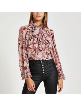 Pink Floral Long Sleeve Ruffle Sheer Blouse by River Island