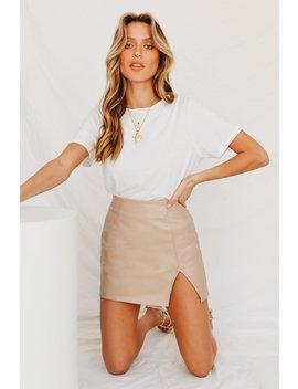 At First Glance Mini Skirt // Beige by Vergegirl