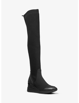 Khloe Stretch Knit And Scuba Over The Knee Boot by Michael Michael Kors