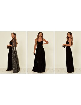 Celeste Black Velvet Occasion Maxi Dress With Gold Astrology Cape by Collectif Clothing