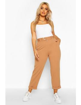 Plus High Waisted Belted Cargo Trouser by Boohoo