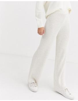 Miss Selfridge – Cremefarbene Strickhose Mit Weitem Bein by Asos